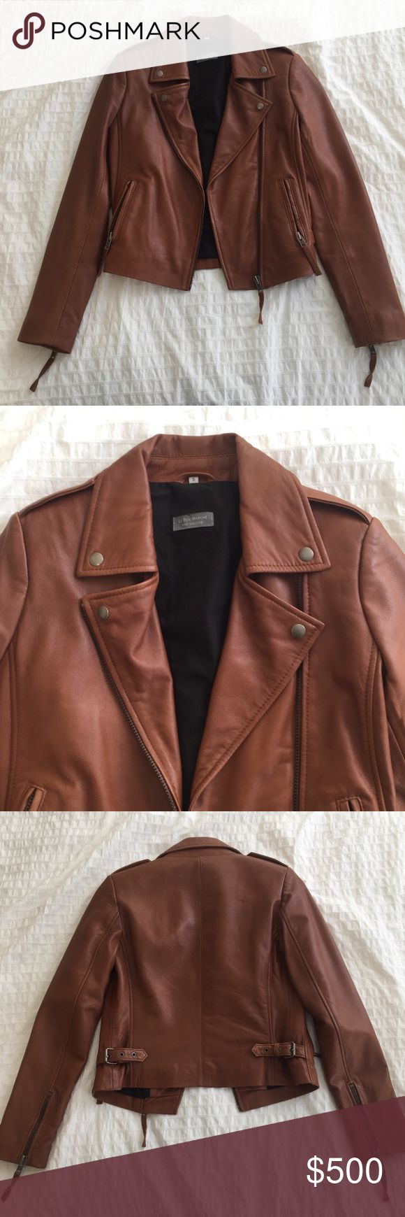 Brown Leather Women's Jacket Amazing brown leather jacket from Le Bon Marche in Paris. Nice soft broken in leather. Warm. perfect for the spring! Never worn Jackets & Coats