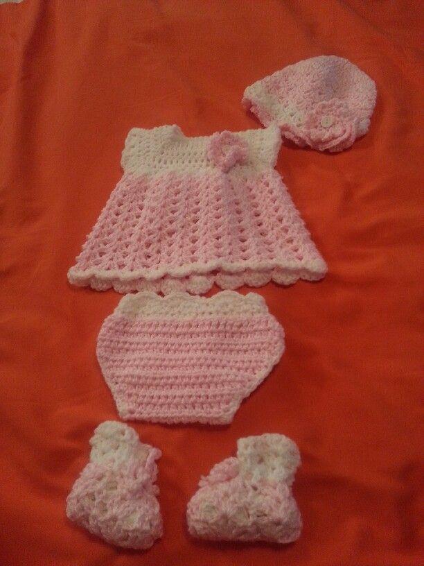 Dress Baby Girl Set Crochet Pattern Hat Spring