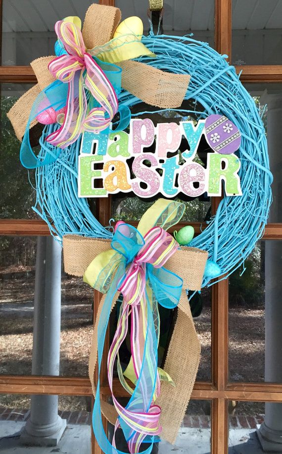 Happy Easter Painted Grapevine Wreath / by SouthernWhimsyStyle