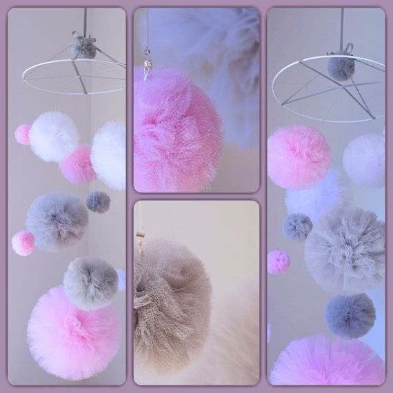 Pink Baby Girl Mobile Tulle Pom Pom Mobile Pom Pom Nursery