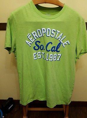 aeropostale lime green short sleeve mens t shirt large logo