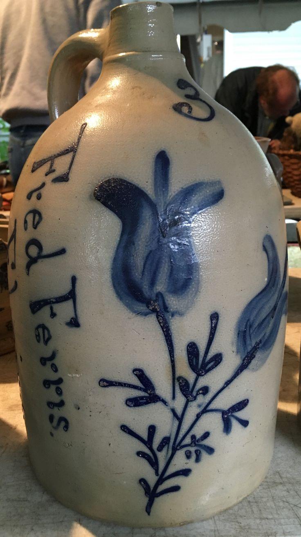 Fred Ferris, Elmira, 3 gallon jug advertising a local liquor distributor.