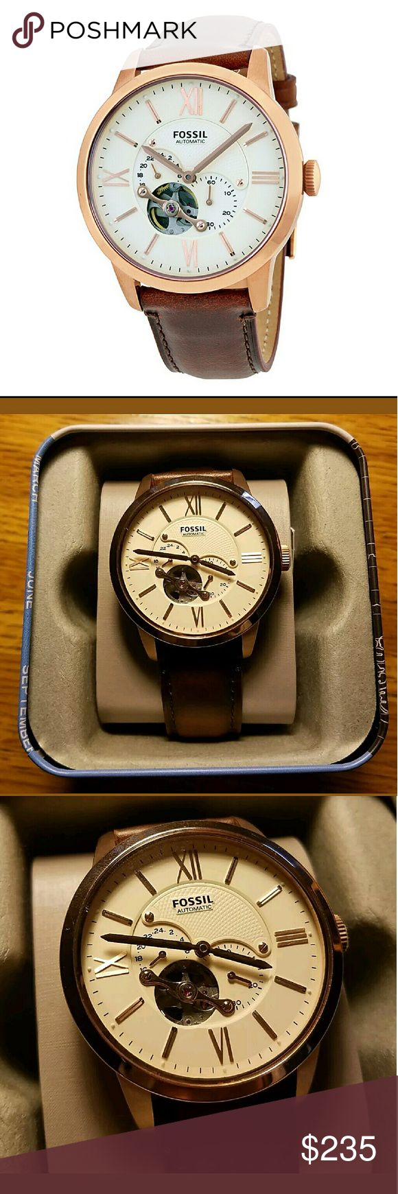 NWT Fossil beige Automatic Men's watch NWT FOSSIL Automatic Men's Watch.  Firm price firm price firm price firm price firm price firm price   $235.00 . AUTHENTIC WATCH  . AUTHENTIC BOX  . AUTHENTIC MANUAL    SHIPPING  PLEASE ALLOW FEW BUSINESS DAYS FOR ME TO SHIPPED IT OFF.I HAVE TO GET IT FROM MY WAREHOUSE.    THANK YOU FOR YOUR UNDERSTANDING. Fossil  Accessories Watches