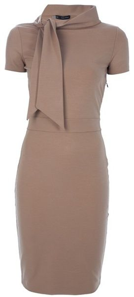 Dsquared2 Brown Fitted Bow Dress