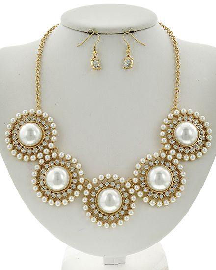 Gold Tone / Clear Casting Rhinestone & Cream Synthetic Pearl / Metal / Fish Hook (earrings) / Flower / Necklace & Earring Set