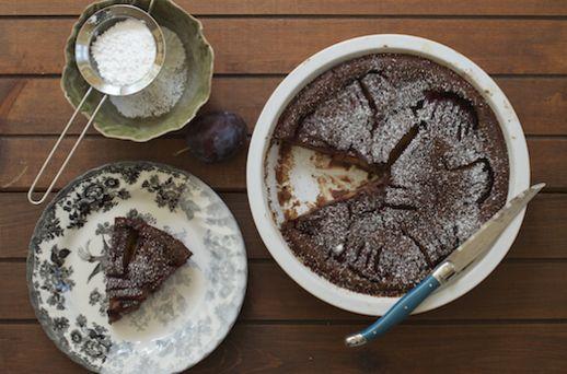 Chocolate Cardamom Plums Clafoutis | Recipe