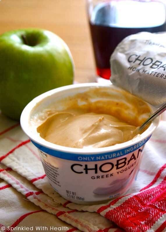 Mix a couple spoonfuls of natural peanut butter and some natural sweetener into a 6 once container of plain greek yogurt. It will thicken up and taste rich and decadent, almost like peanut butter cheesecake. Eat it with a piece of fresh fruit for a sweet and satisfying meal.