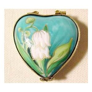 Limoges Boxes from Limoges France - Floral heart lily of the valley Limoges box [GR-1283]
