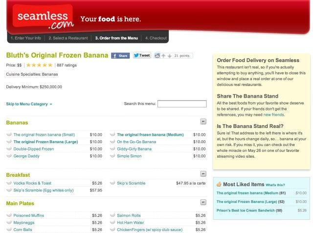 "Now Netflix Is Promoting ""Arrested Development"" On Seamless.com - Bluth's Original Frozen Banana"