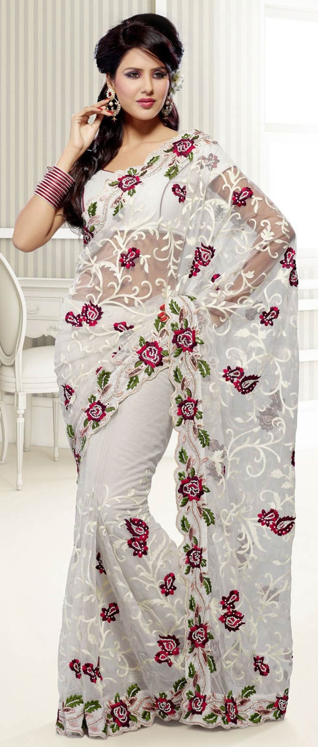 White #Net #Saree With Blouse @ $90.97