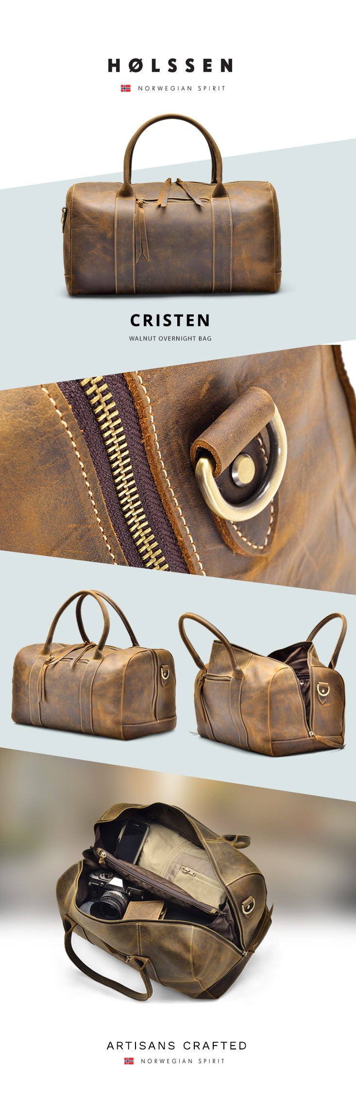 Our Holssen Cristen Overnight bag is a handsome and durable bag handcrafted with full grain leather. With two compartments and a middle zip pocket, you get plenty of space to keep everything organized.