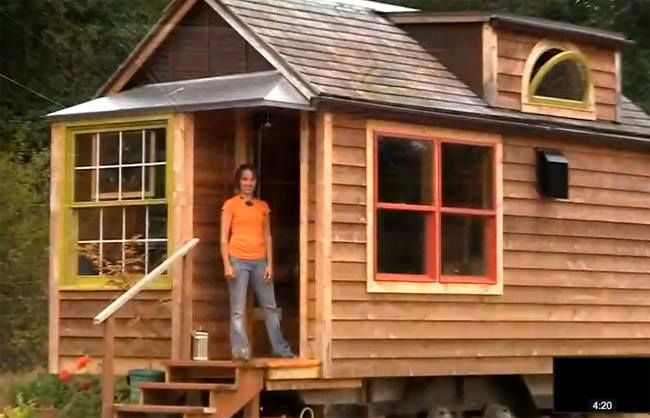 angela gives us a video tour of her tiny house on wheels for sale that she built herself http. Black Bedroom Furniture Sets. Home Design Ideas