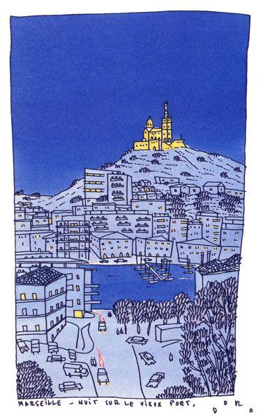 Philippe Doro : Marseille, le Vieux Port et Notre Dame de la Garde.