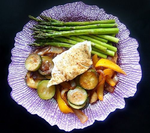 Undressed Skeleton — Baked & Seasoned Cod Over Sauteed Veggies & a Side of Asparagus!