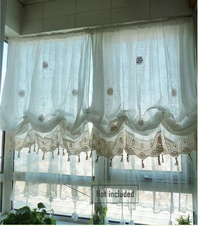 Shabby Chic Drawnwork Combined Hand Crochet WHITE Balloon Curtains, French Pinch Pleat Drapes, Drapery Curtains R002 by qfunvalue on Etsy