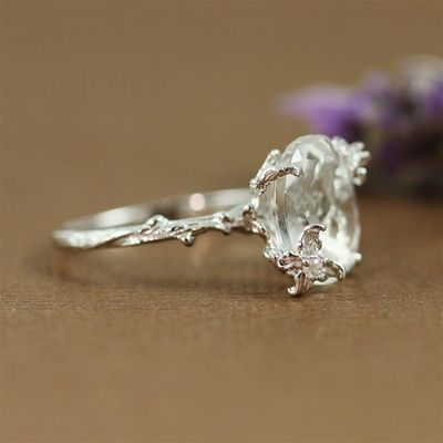 Handmade Sterling Silver Oval White Quartz Floral Ring