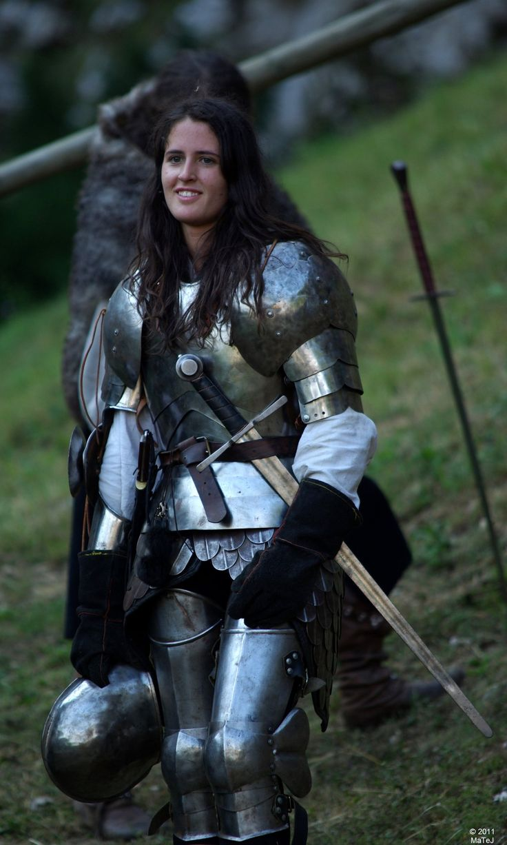 Woman in plate armor.