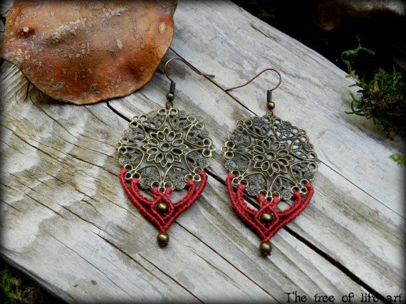 Macrame boho earrings with bronze metal charms/Choose Red or Purple Color/Micromacrame jewelry/Elven earrings/Thetreeoflifeart