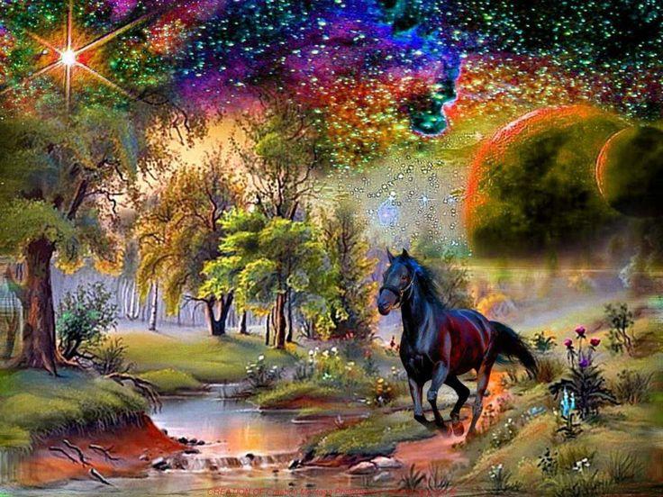 Cheval dans paysage f rique beautifuls back grounds - Dessin feerique ...