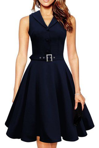 Noble Turn-Down Collar Sleeveless Button Decorate Solid Color Women's A-Line Dress Vintage Dresses | RoseGal.com Mobile