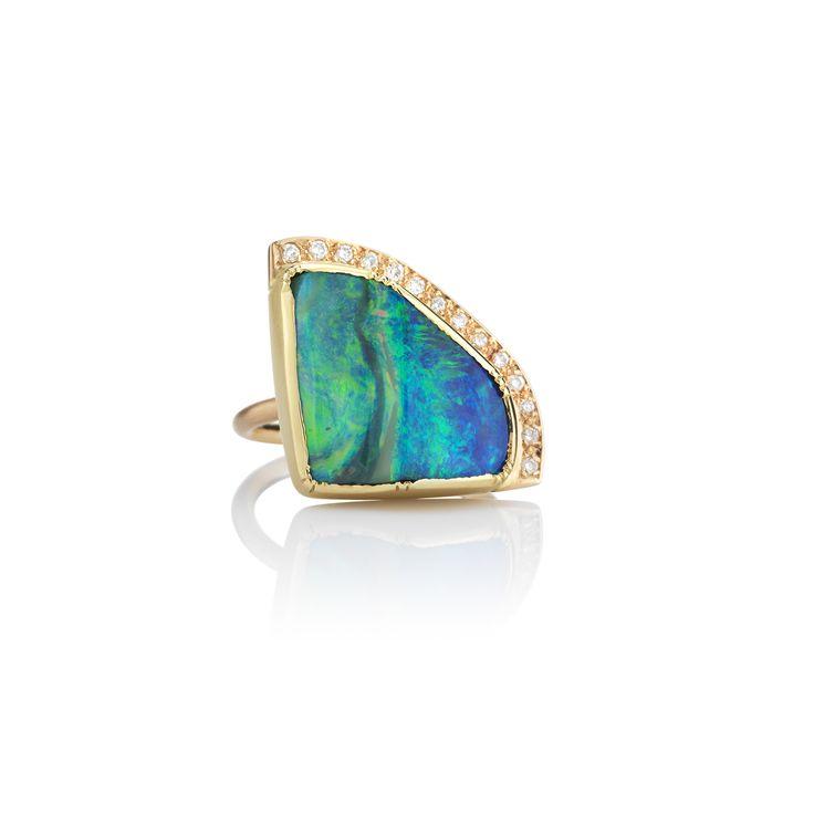 Boulder Opal Ellipse Halo Ring