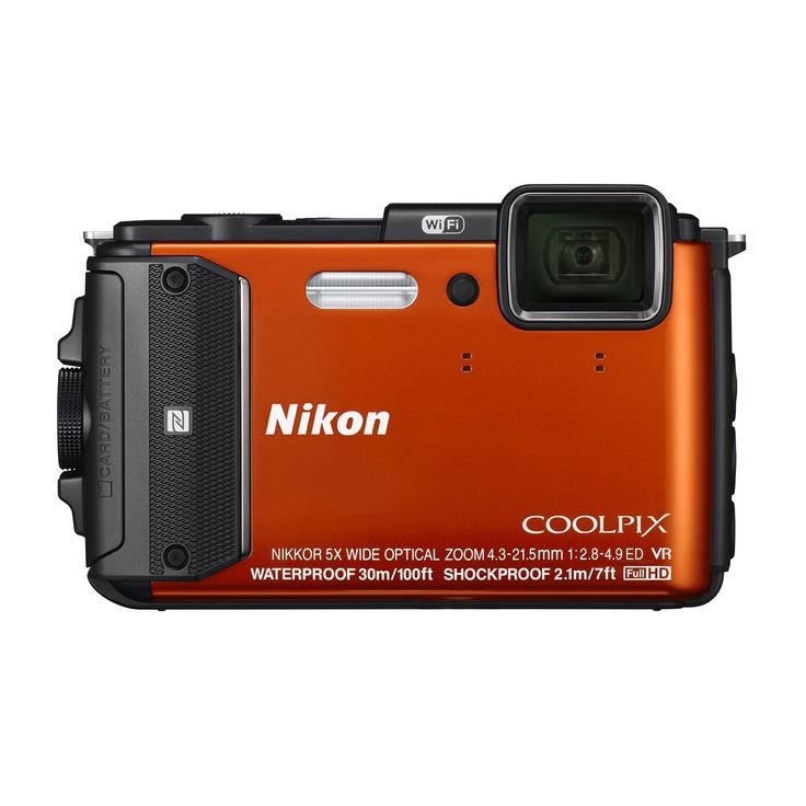 Nikon - Coolpix AW130 16.0-Megapixel Waterproof Digital Camera - Orange. Waterproof up to 100ft; freezeproof to 14 degrees Fahrenheit; shockproof for drops up to 7 feet. 5x optical zoom NIKKOR ED wide-angle glass lens. Capable of taking up to 5 shots per second. Built-in Wi-Fi and NFC for easy transfer to your smartphone. Built-in GPS, mapping, Electronic Compass and Points of Interest (POI).