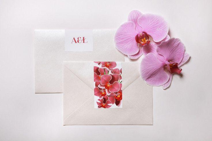 Naklejki ozdobne + perłowa koperta- wszystko z serii Orchidea