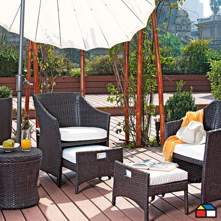 Juego Bari de ratán de PE 5 piezas #terraza #jardin