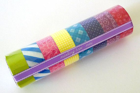 Japanese Washi Tape MINI Starter Kit MEDIUM (C) Set of 8 Masking Tape rolls- PrettyTape 157ft total: Japan Light, Minis Washi, Kits Medium, Minis Starters, Starters Kits, Masks Tape, Washi Tape, Tape Sets, Diy Projects