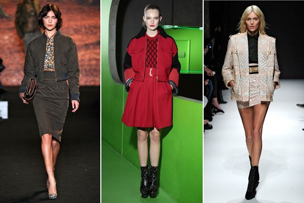 Fall 2012 runway trend alert: Skirt Suits. These aren't your average corporate suit sets. In awesome materials, great jackets, and flirty cuts, these fit in better at a party than in the boardroom.
