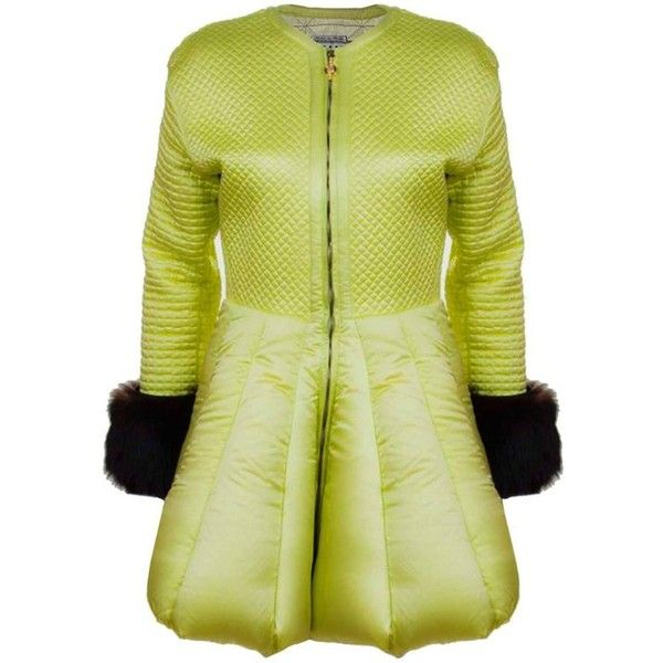 Preowned Versace Vintage Collector's Lime Green Quilted Puffer Coat Sz... ($8,500) ❤ liked on Polyvore featuring outerwear, coats, fur puffer coats, green, versace, puffy coat, green puffer coat, green coats and zipper coat