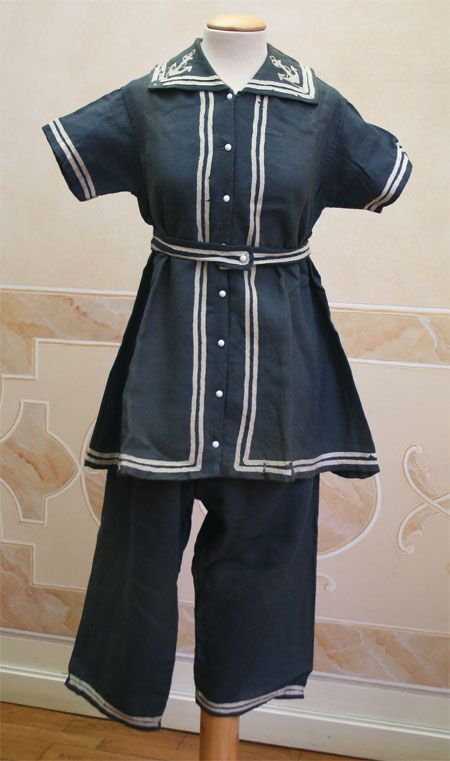 1881 front - Two-piece bathing suit (jacket and pants).