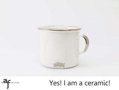"""""""Tak!+Jestem+z+ceramiki!""""+-+biały+kubek+Z+PLATYNĄ // Agaf+Design"""