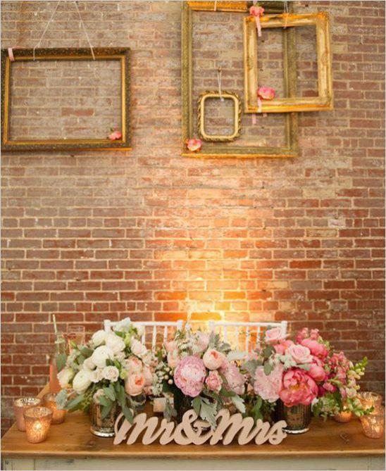 brick wall backdrop wedding reception backdrops via httpemmalinebridecom sweetheart table decorbaltimore weddingframes ideascheap