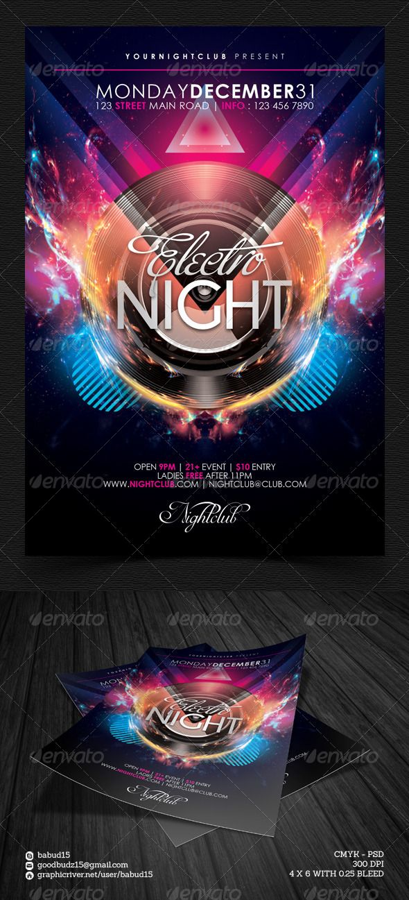 Electro Night Flyer Template. Download here: http://graphicriver.net/item/electro-night-flyer-template/5228130 #electro #dubstep #house