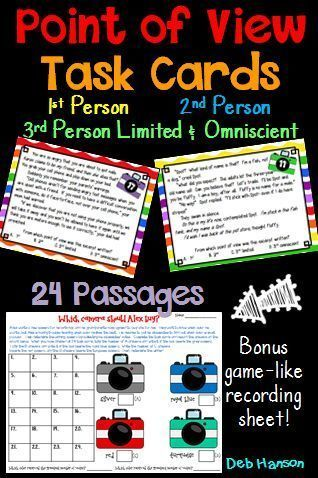 """Point of View Task Cards for upper elementary!  First Person, Second Person, Third person Limited, Third Person Omniscient.  Students read the passage and determine its point of view.  There are two recording sheet options... one traditional and one """"game-like""""."""