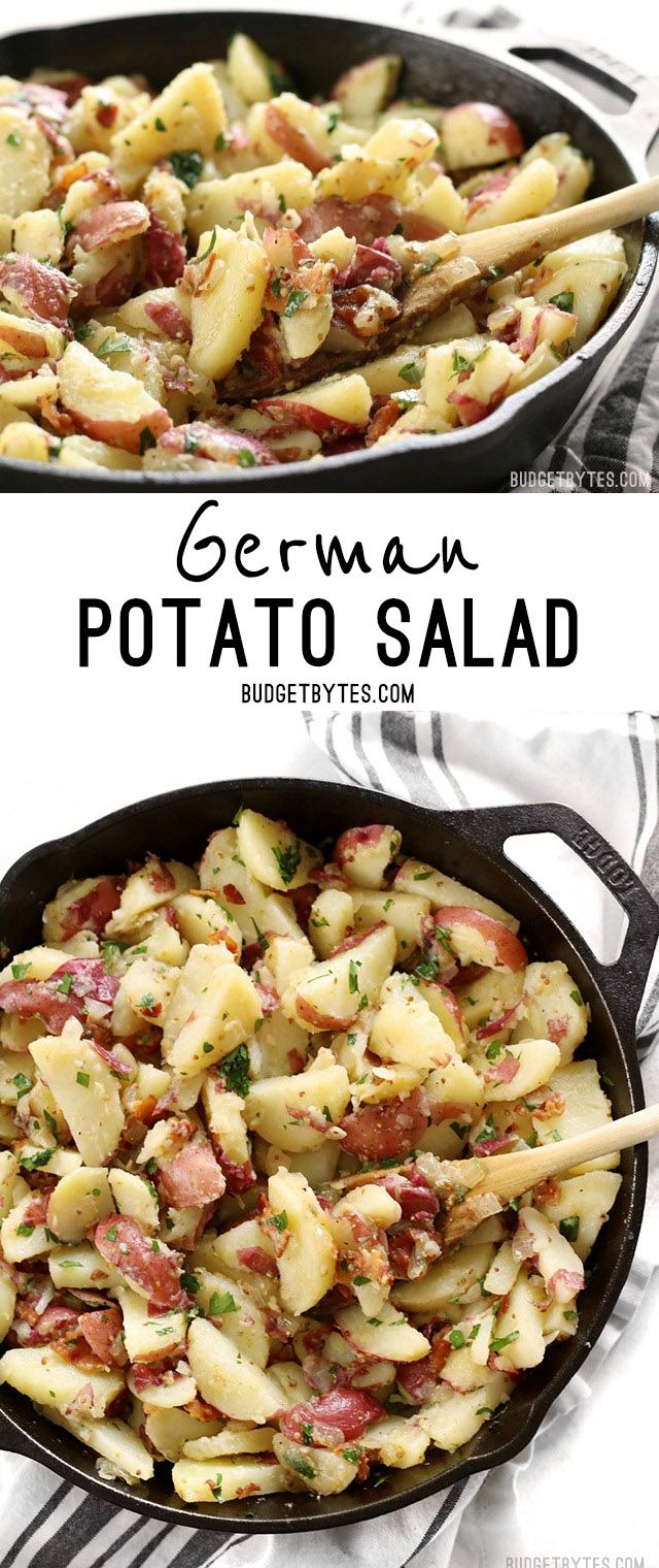 German Potato Salad is coated in a tangy bacon vinaigrette and is the perfect side for all your summer grilling. @budgetbytes