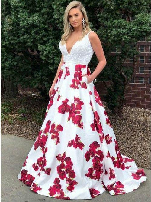 df5c3a49ebee A-Line Deep V-Neck Sleeveless White Floor Length Prom Dress with Beading