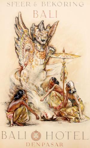 Willem Gerard Hofker - Poster voor het Bali Hotel te Denpasar. 'Drie Balinese meisjes voor een tempelbeeld'.