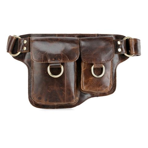 This stylish and cool fanny pack is made of genuine distressed leather. Manufactured with expert craftsmanship.Functional, the waist pack features stitched leather straps, 2 frontal pockets, snap button closure, and an inside safe pock...