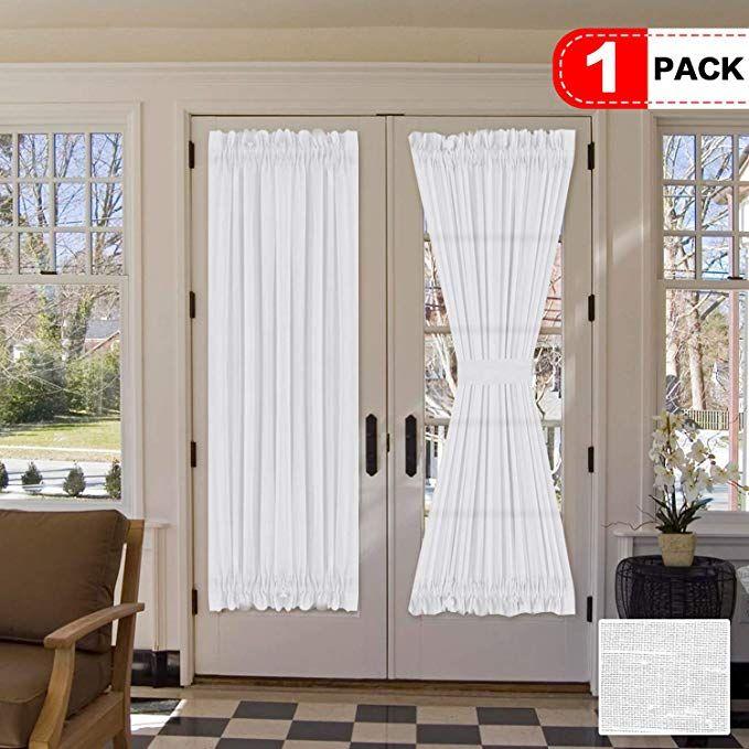 H Versailtex Elegant Soft Linen French Door Curtains Light Filtering Curtain Panel Rod Pocket Door Panel 52w B Curtains French Door Curtains Door Curtains