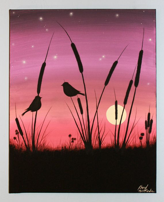 original abstract acrylic painting canvas fireflies love birds sunset purple pink silhouette sun cattails twilight gift idea