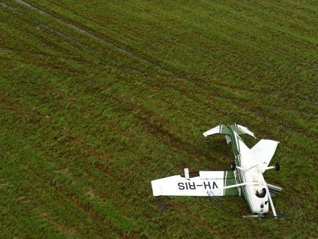 Max Gillham's 172 Cessna was up-ended at Bowen Aerodrome. Picture: Scott Radford-Chisholm