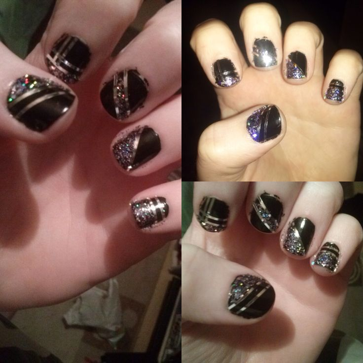 Black with silver hologlitter and silver stripes