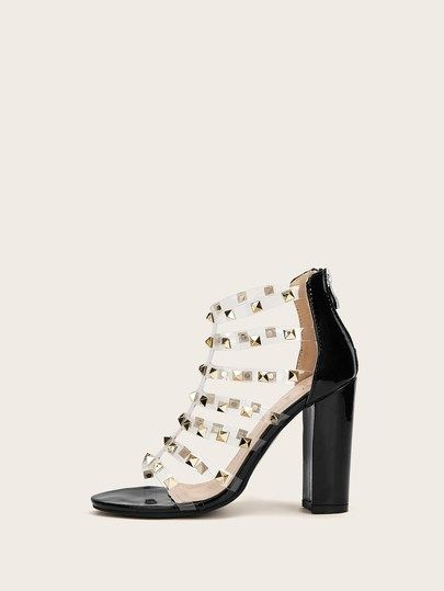 eee14bbcdcb Studded Decor Clear Strappy Chunky Heels in 2019 | Chic Shoes For ...