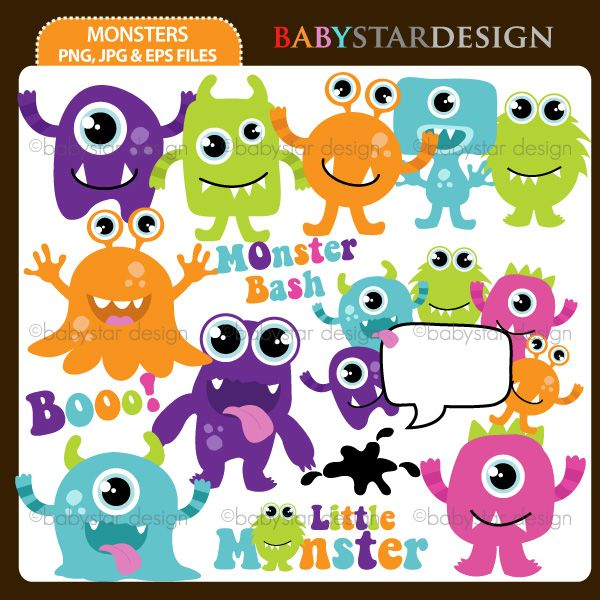 """14 graphic elements of """"Monsters"""" theme. Perfect for your birthday party invitations, craft projects, paper products, stationery, scrapbooking, web designs, stickers and many more!"""