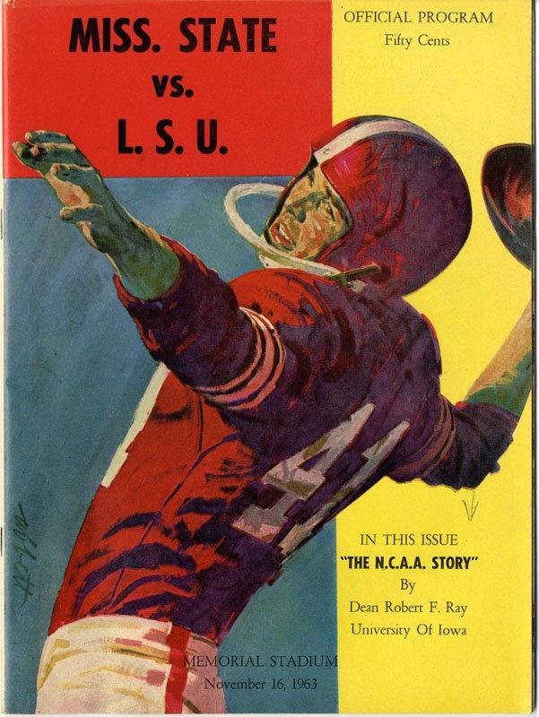 1963 Game program, final score MSU 7 LSU 6 . Go