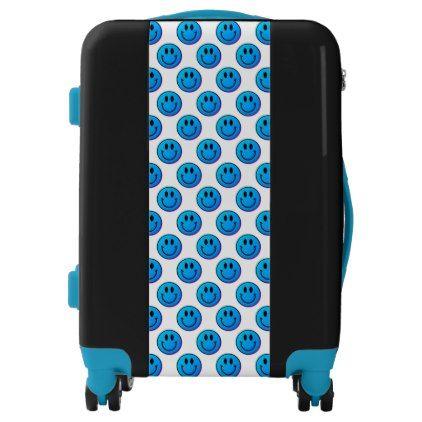 Turquoise Smiley Face Emoji Ugo Luggage Suitcase - cyo diy customize unique design gift idea perfect