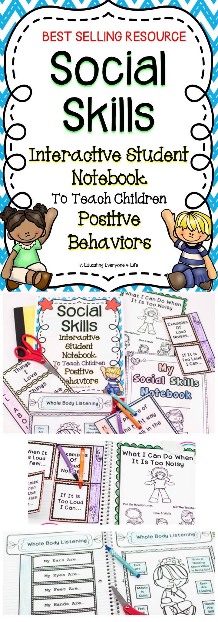 """Are you looking for interactive lessons to teach social skills. This interactive student notebook will teach your students the critical social skills they need to be successful. Teachers who have used this resource are saying, """"This has been an amazing addition to my therapy routine! Thank you!"""" """"Perfecto! I have a counselor that comes to work with my whole class, but this will be something that I can use daily during the first week or so of school to reinforce behavior expectations."""