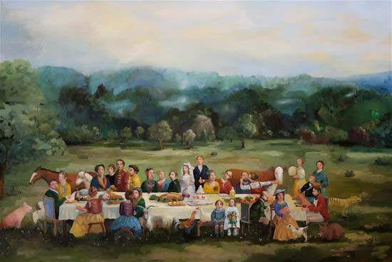 Richard Martin Art featuring works by artist Melissa Egan showing the work, Wedding Party, in the medium, oil on linen
